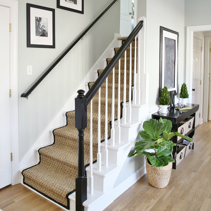 Runner Rug Diy: Painted Staircase Makeover With Seagrass Stair Runner
