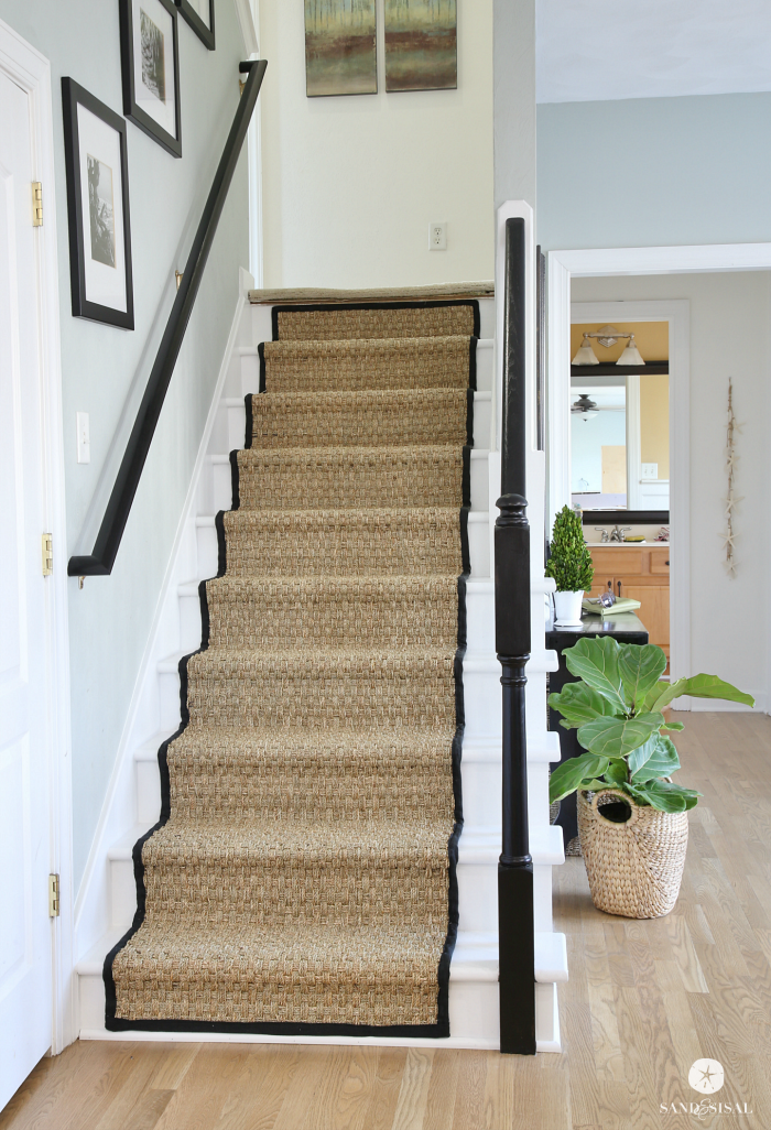 Painted staircase makeover with seagrass stair runner for Diy staircase makeover