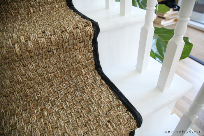 Seagrass Stair Runner - White Painted Stairs