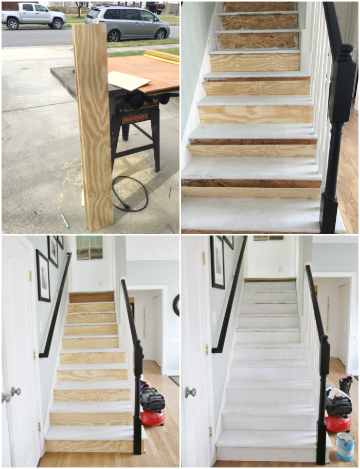 Painted staircase makeover with seagrass stair runner for Painted stair treads