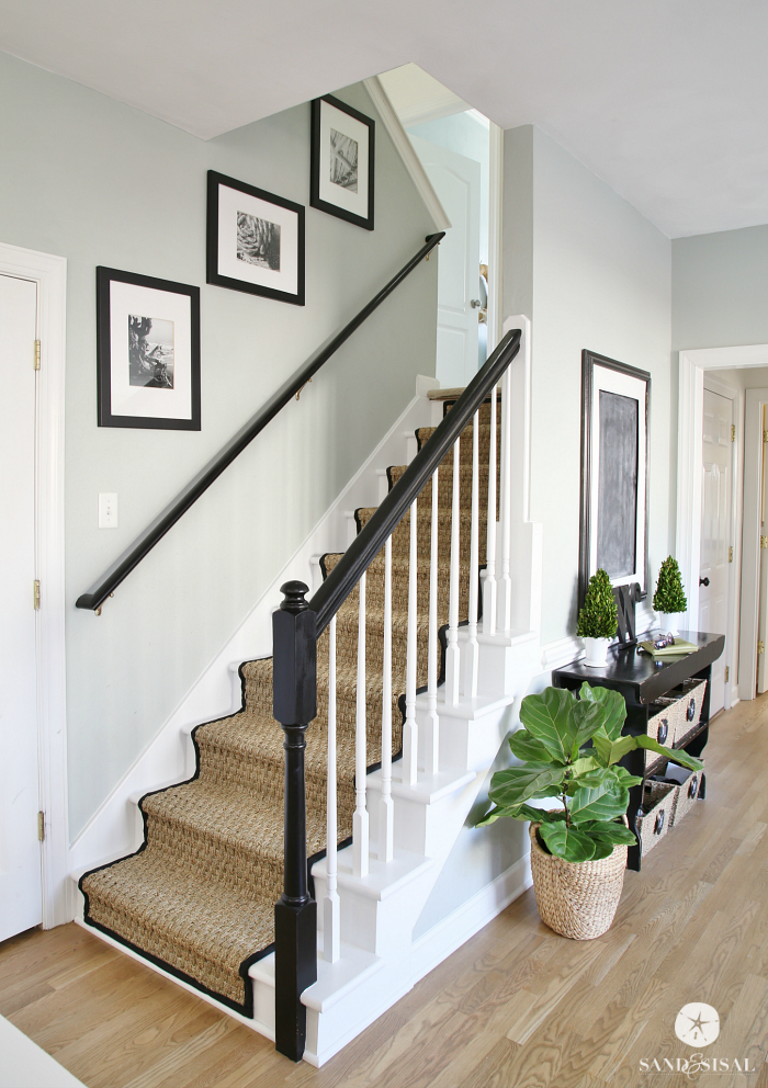 White Painted Staircase Makeover with Seagrass Stair Runner