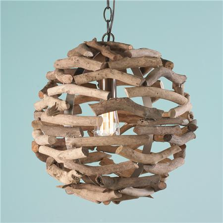 Driftwood Ball Pendant Light -Coastal Chandeliers and Pendants