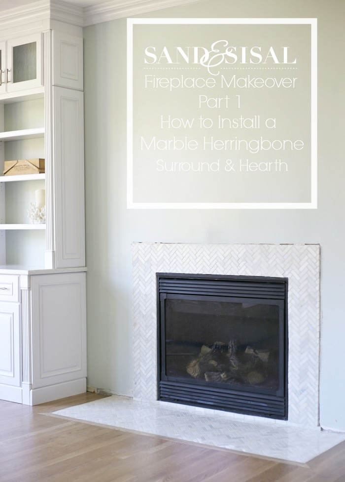 Fireplace Makeover part 1 - Installing a Marble Herrinbone Fireplace Surround