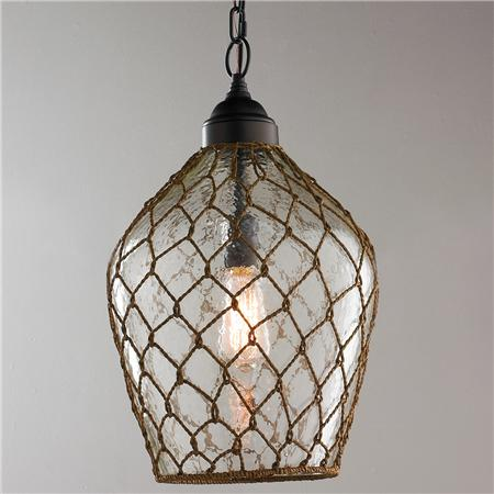 Nautical Rope Jar Pendant -Coastal Chandeliers and Pendants