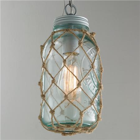 Netted Rope Jar Pendant- Coastal Chandeliers and Pendants