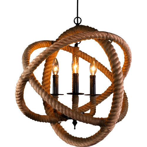 Rope-Enclosed-3-Light-Candle-Chandelier
