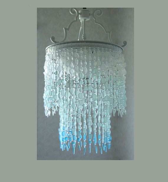 Sea Gl Ombre Chandelier Coastal Chandeliers And Pendants