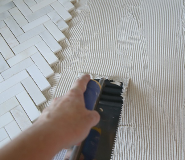Tiling a fireplace hearth