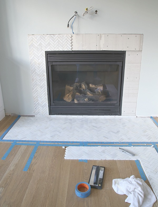 Tiling a marble herringbone surround and hearth