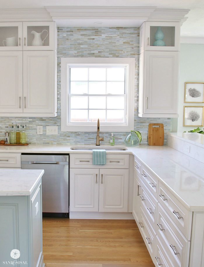 Coastal Backsplash And Kitchen Makeover   Lunada Bay Tile