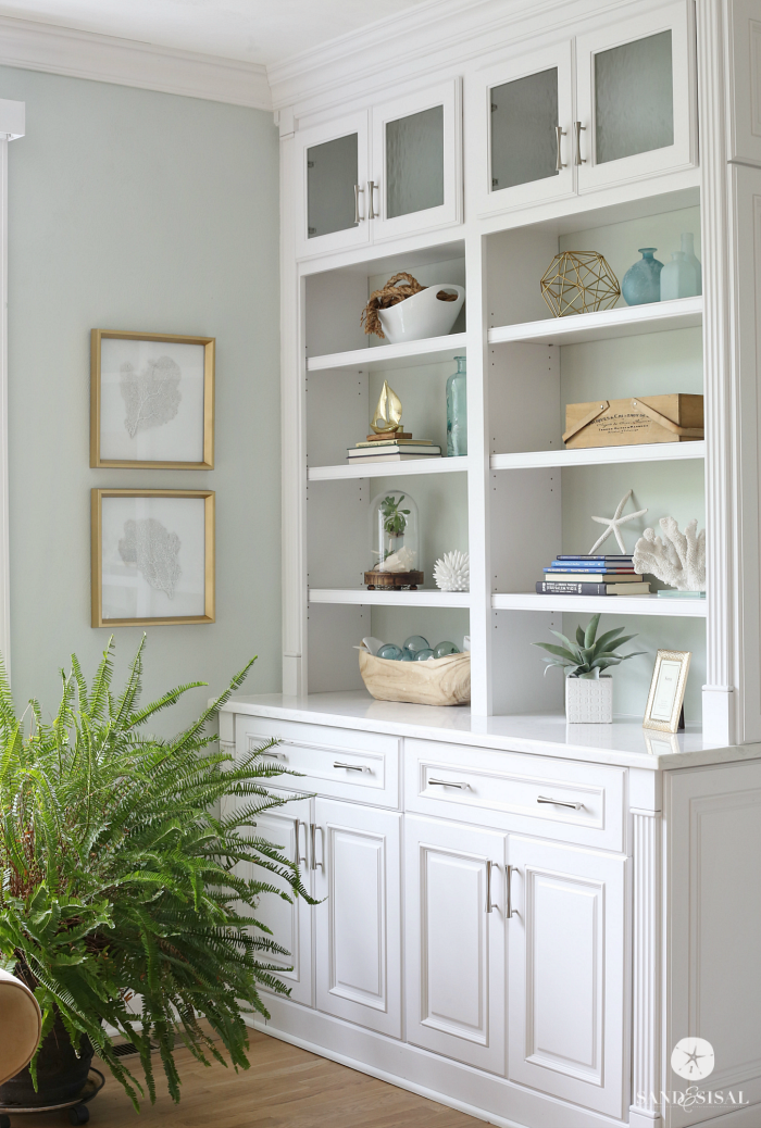 Coastal Built-in Bookcases