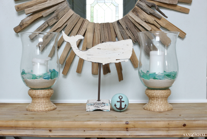 Coastal Cottage Collection - Kirklands Driftwood Mirror and Wood Whale