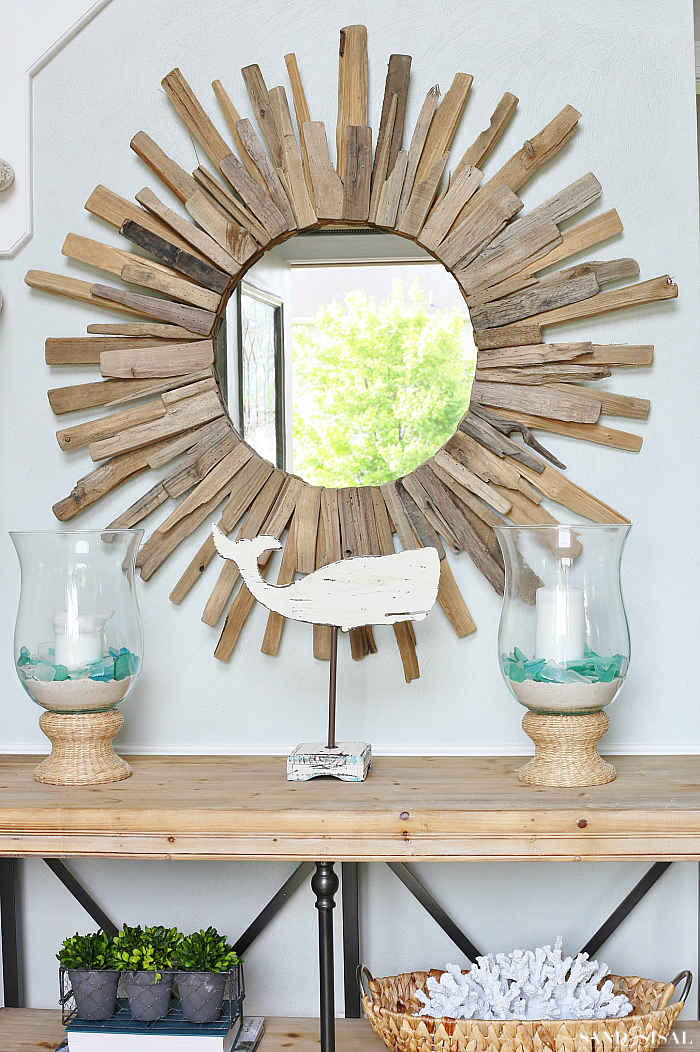 Driftwood Sunburst $ Simple Ways to Create a Welcoming Entryway - Mirror and Console Table