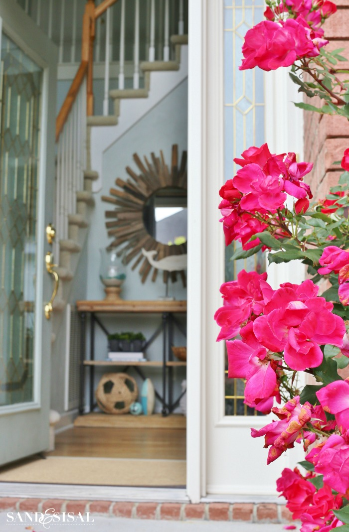 How to Create a Welcoming Entryway - Front porch roses