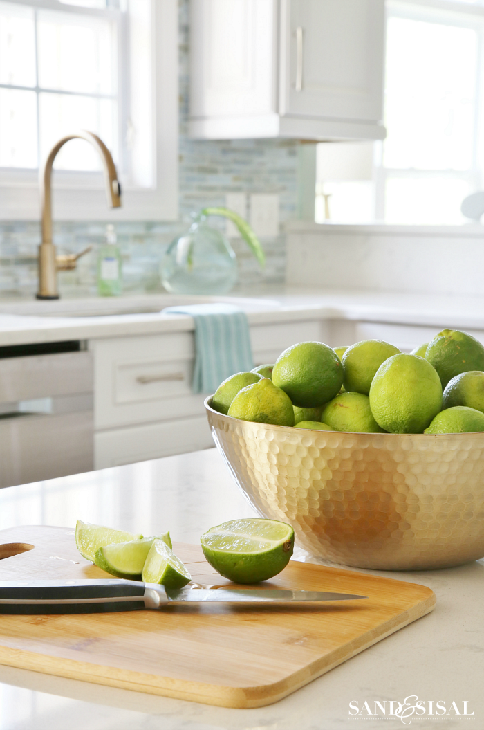 Gold Bowl of Limes - Coastal Kitchen - Cambria Torquay Quartz Counters