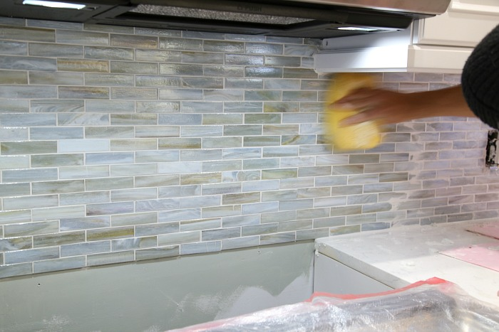 Grouting a backsplash