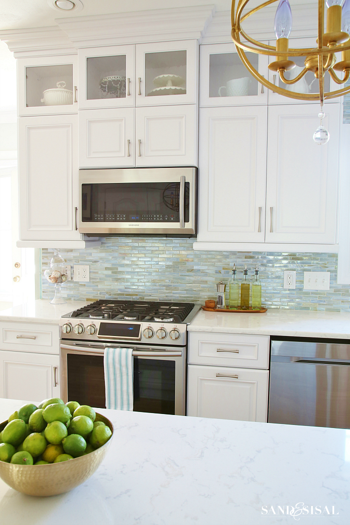 White and sea glass coastal kitchen makeover