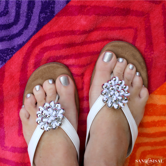 Best Beach Tips -Silver Nail Polish - flip flops