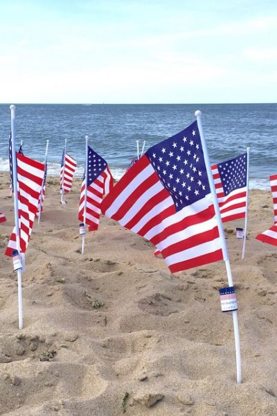 Flags on the Beach - 4th of July