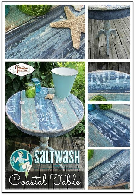 COASTAL pedestal TABLE - Saltwash Painting Technique