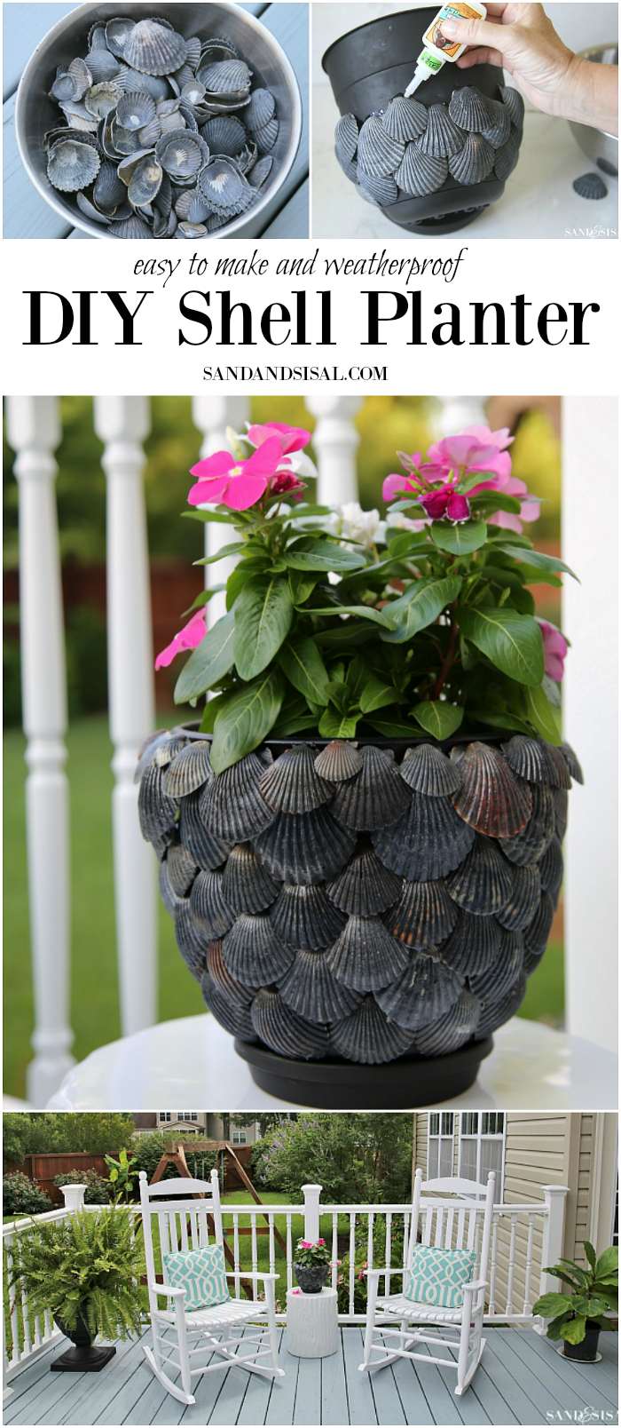 DIY Shell Planter - a fun and simple shell craft