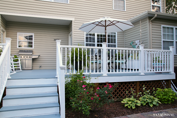 Deck Makeover - White Vinyl Banisters and Railings
