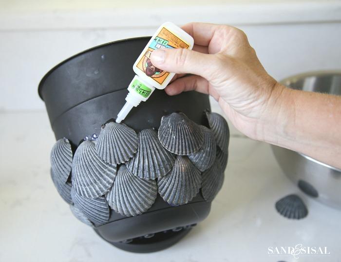 How to Make a Coastal Shell Planter - Step 3