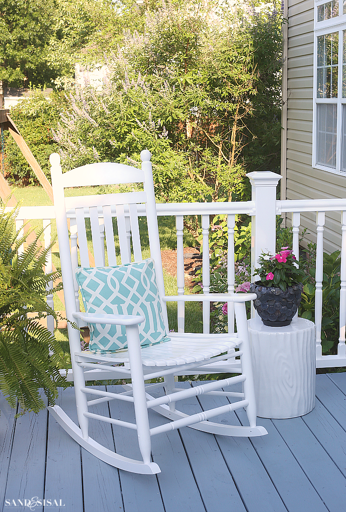 White Rocking Chair - Deck Makeover