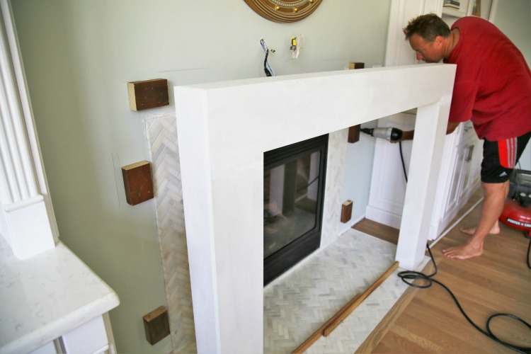 Building a fireplace surround and securing