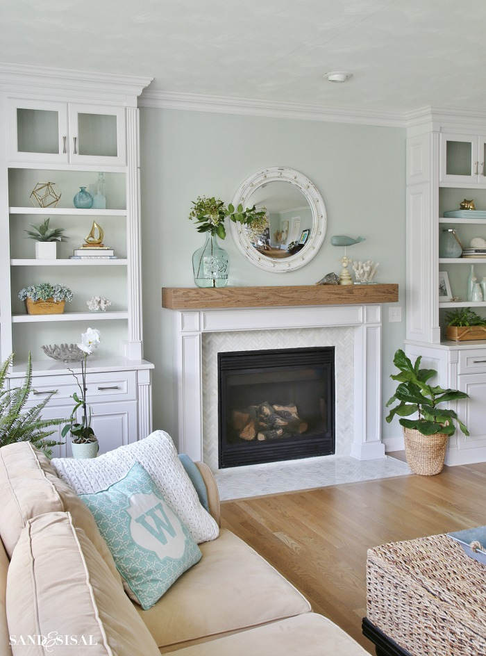 Coastal family room and fireplace makeover sand and sisal for Living room built ins ideas