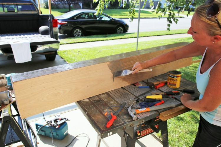 DIY Weathered Oak Wood Beam Mantel
