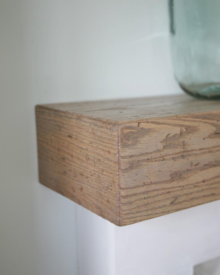 DIY Wood Beam Mantel - closeup