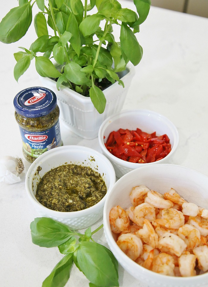 Ingredients for Pesto Pasta with Grilled Shrimp and Roasted Red Peppers