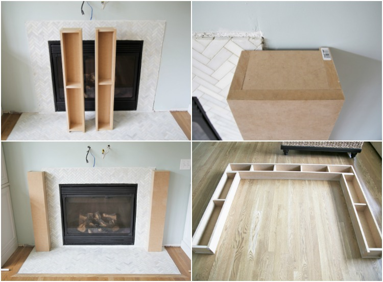 Learn how to make a rustic weathered oak DIY Wood Beam Mantel and fireplace surround. This mantel has a hollow center to hide electrical cords or items.