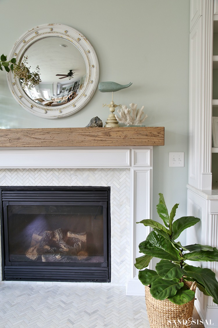 fireplace mantel beam.  DIY Wood Beam Mantel