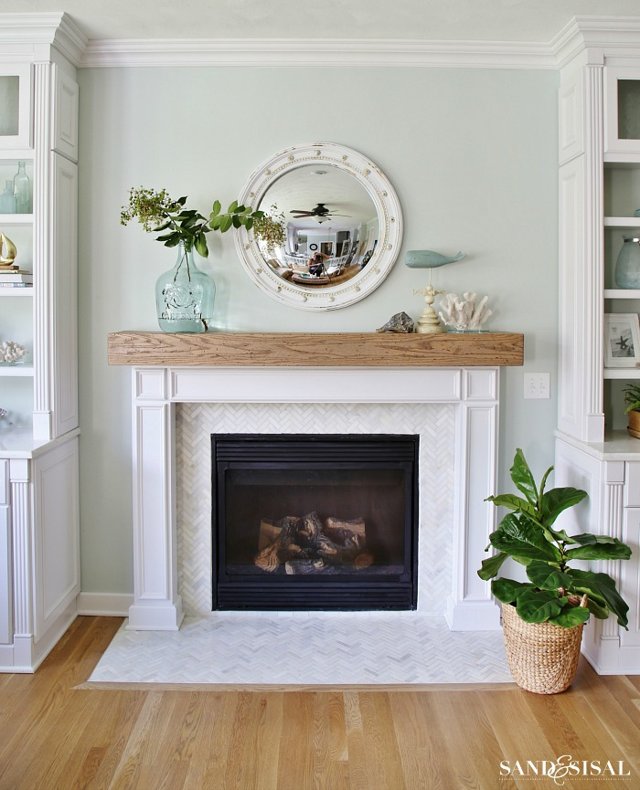 Diy Wood Beam Mantel Coastal Fireplace Makeover With Marble Herringbone Tile