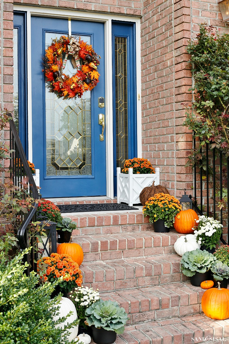 Indigo and orange fall front porch sand and sisal Beautiful fall front porches