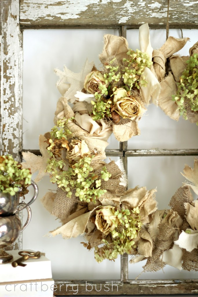 burlap-and-hydrangea-fall-wreath
