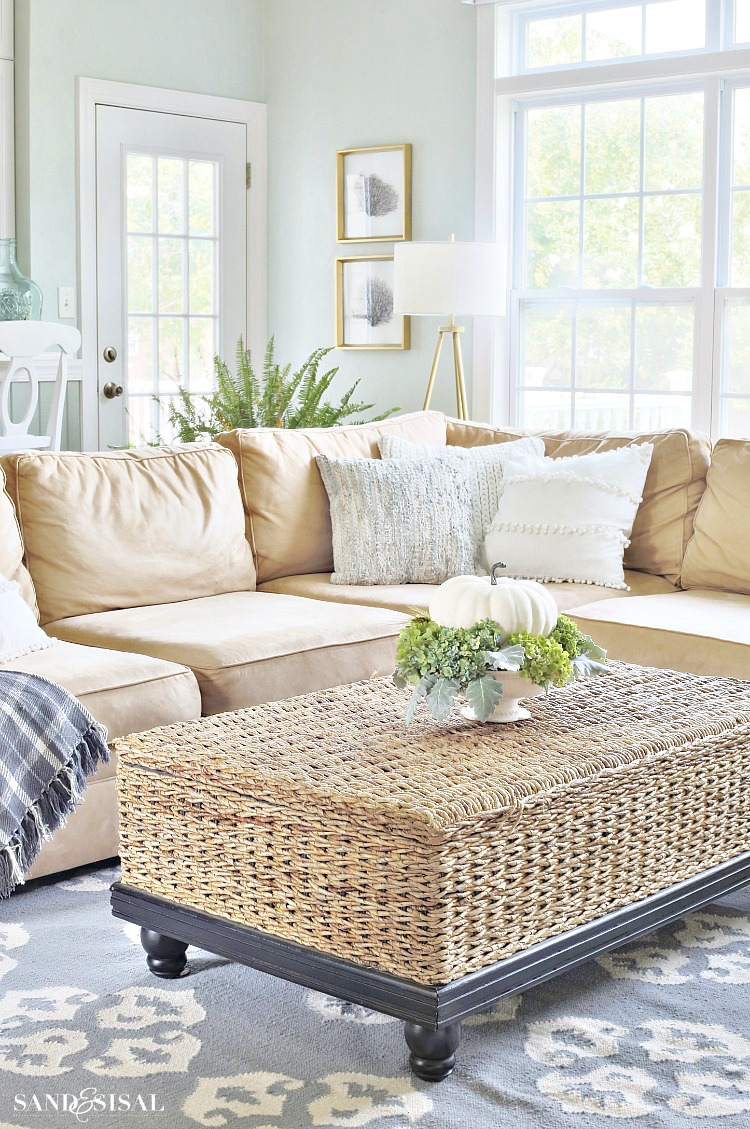 Coastal Family Room Fall Tour with White Pumpkin and hydrangea Fall Centerpiece