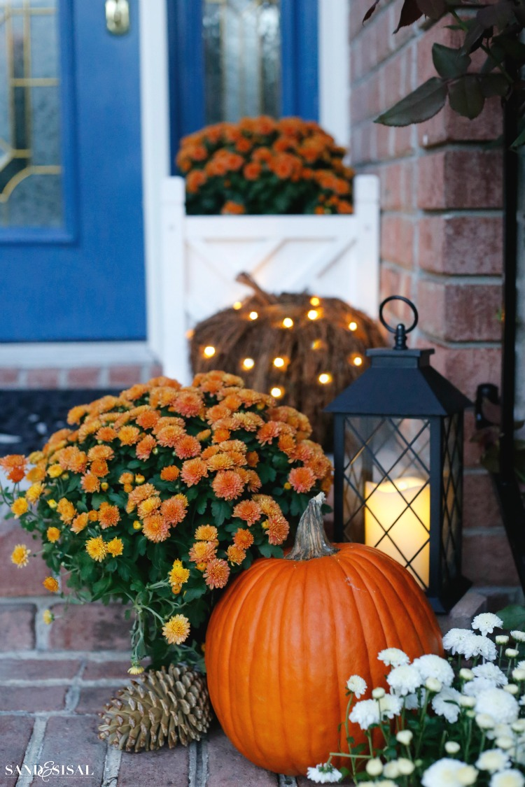 Indigo and orange fall front porch sand and sisal - Fall decorating ideas for front porch ...
