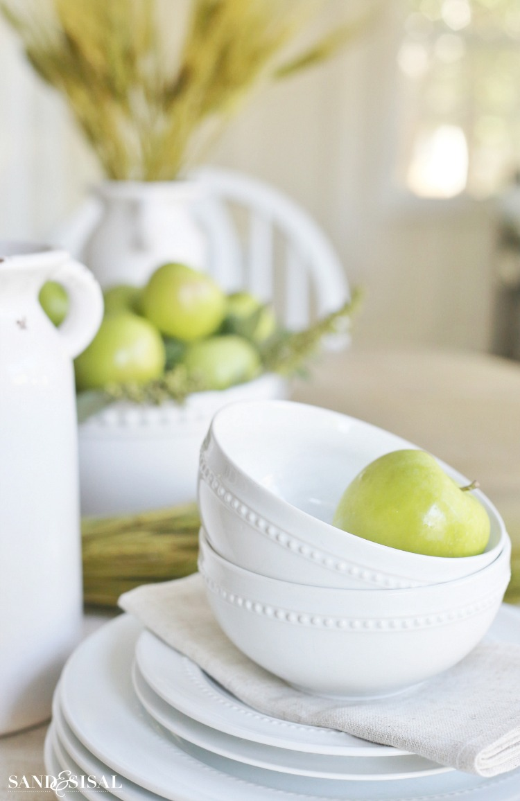 Fall Home Tour - Green Apples and White Dishes