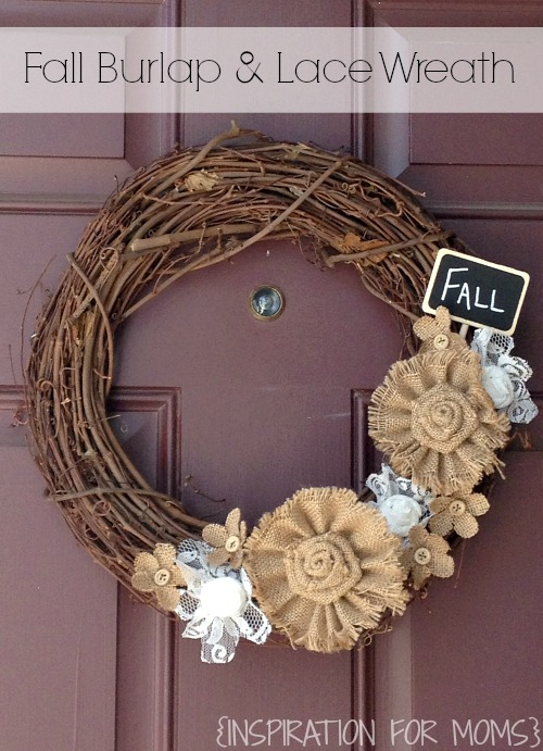 fall burlap and lace wreath