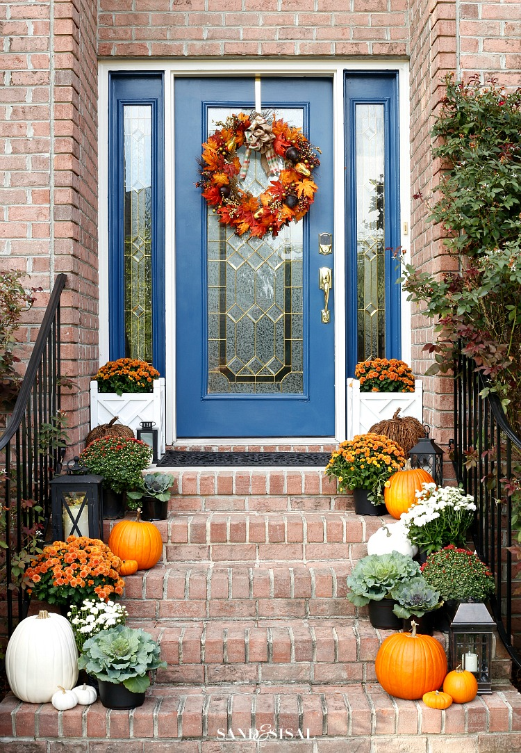 Indigo and orange fall front porch sand and sisal for Sisal decoration