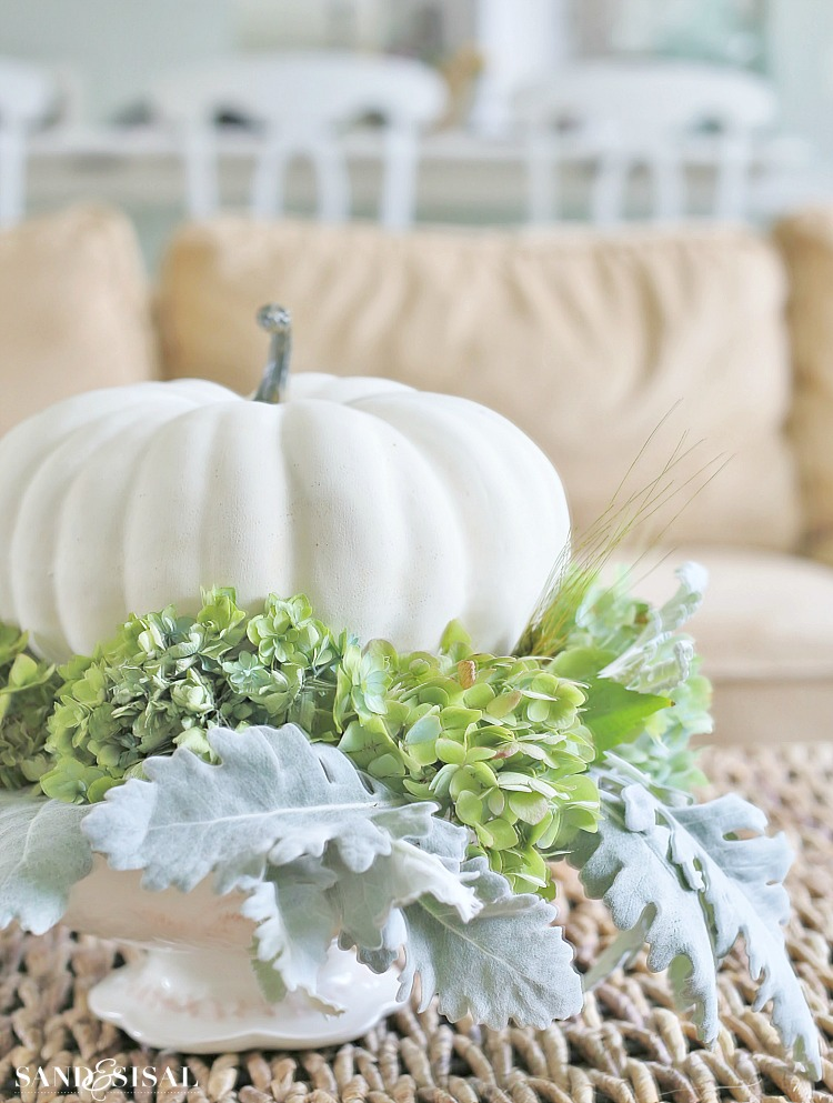 Hydrangea and white pumpkin fall centerpiece sand sisal