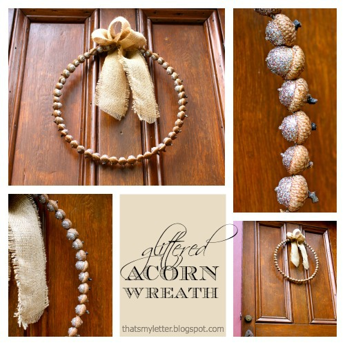 Glittered Acorn Wreath with Burlap Bow