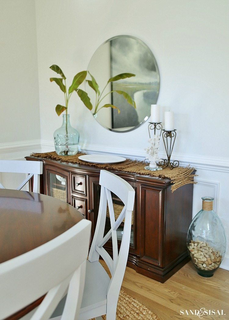 buffet-table. Coastal Dining Room Makeover