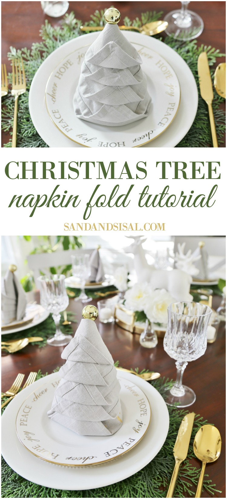 Christmas Tree Napkin Fold Tutorial - Click through the photo to see the video tutorial on how to make these easy holiday napkins for your Christmas tablesetting.