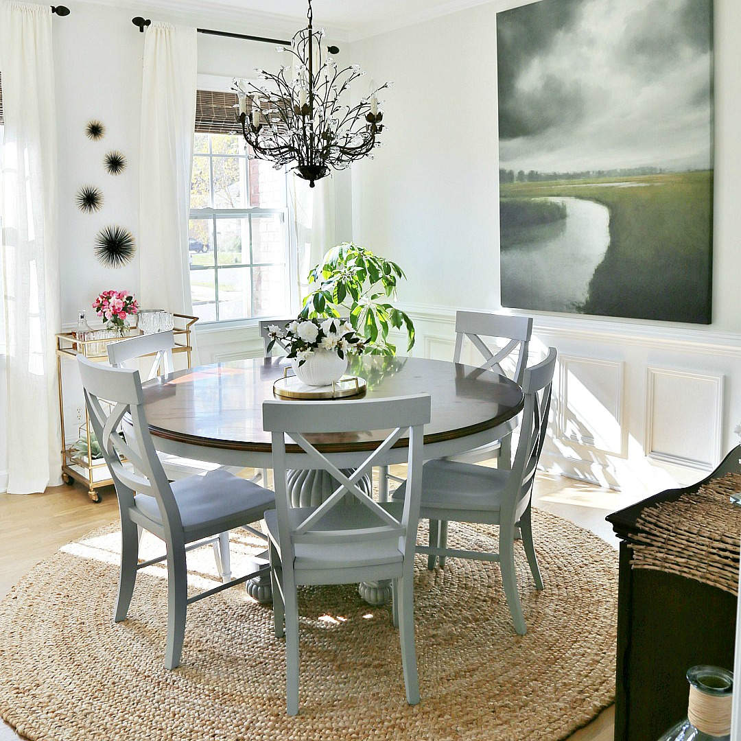 Coastal Dining Room Makeover - Sand and Sisal