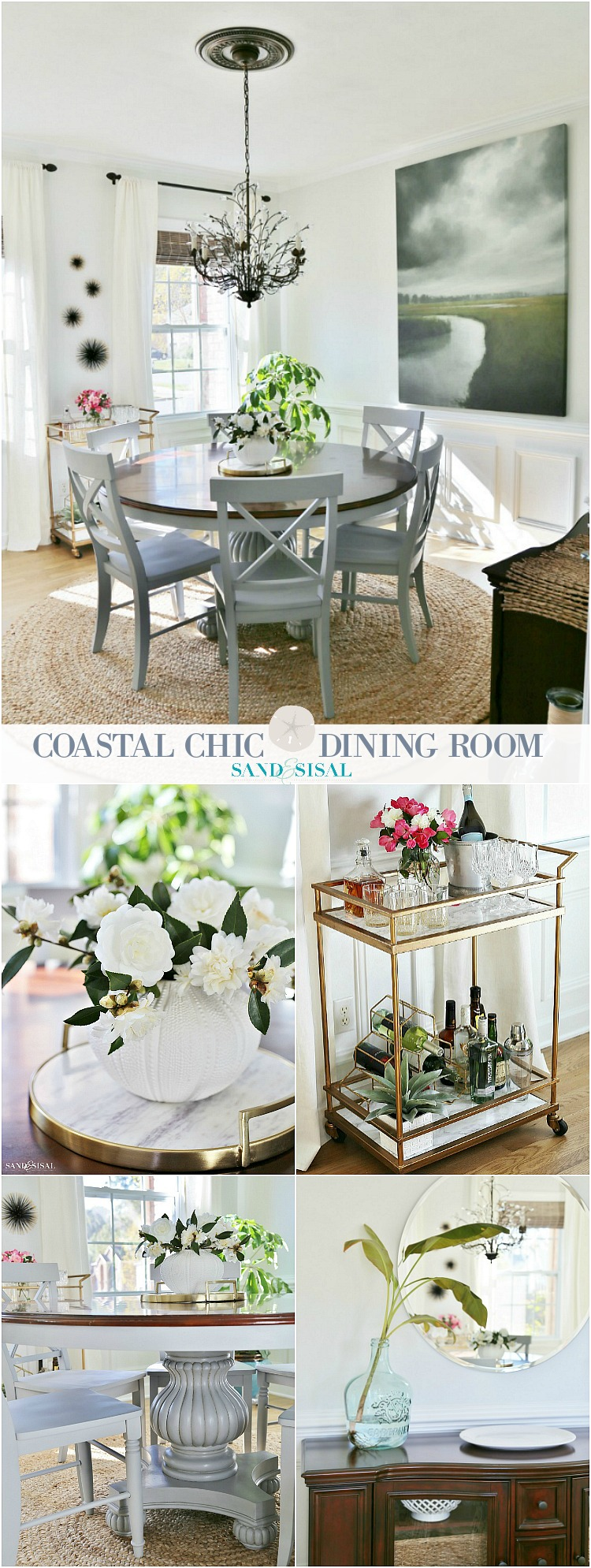 A Coastal Chic Dining Room Makeover - Sand and Sisal