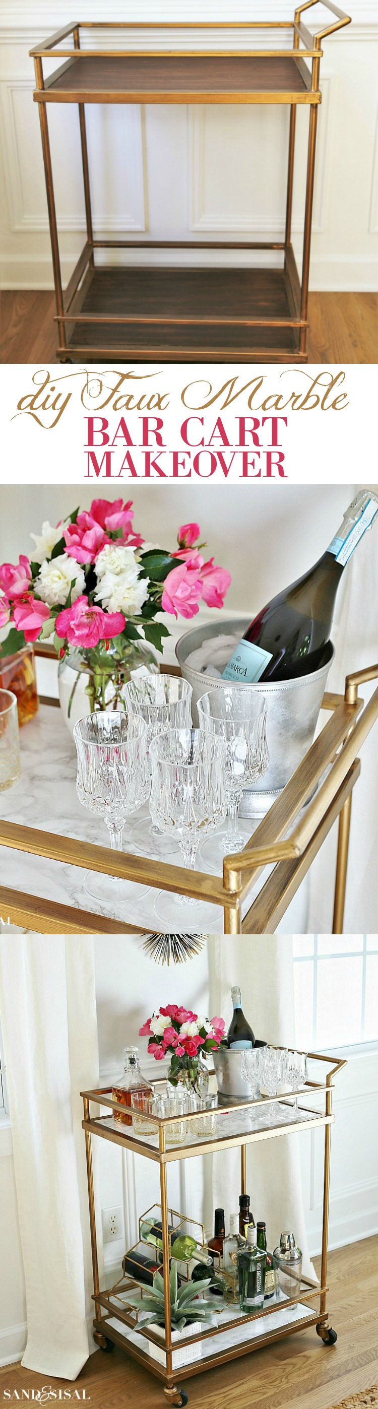 diy-faux-marble-bar-cart-makeover-gold-bar-cart
